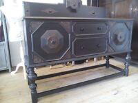 Antique Vintage Jacobean Style Sideboard Buffet.