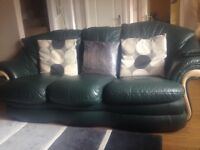 3 Seater leather couch and 2 chairs
