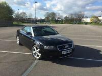 Black Audi A4 2.5 tdi V6 163 bhp Convertible Manual