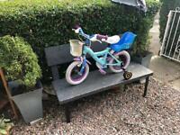 Girl's bike with stabilisers
