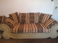 3 seater and 2 seater Cream Fabric Sofas in very good condition
