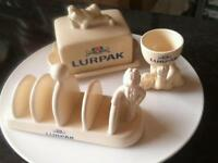 Lurpack egg cup butter dish and toast rack