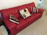 Red Leather 3 seater sofa, good condition, 2100mmx900mmx900mm