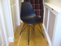 Black plastic classroom office seat desk back chair with metal legs / Used