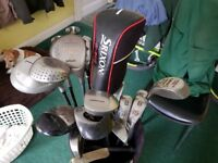 Selection of golf clubs and bag.