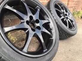 "17"" Refurbished Black Alloy Wheels 5x100 Toyota Celica"