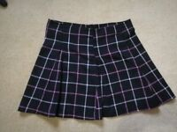 womens black skirt with pink and white checks