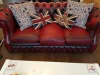 Chesterfield red 3 seater sofa, must go before Fri 24th Nov