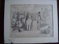 Antique Framed Humorous Satirical Prints of Royal Visits .