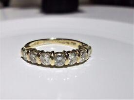 18ct Yellow Gold 1ct Diamond Eternity Engagement Ring Size K 3.4 grams