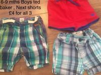 6/9 mths Ted Baker/Next shorts £4 Lot !!!