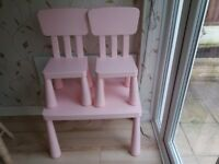 Very well cared for kids pink table and 2 chairs