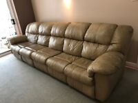 Beige Leather Sofa - Five seats - comes in two sections