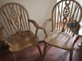2 pine wheel back farmhouse carver chairs