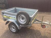 """Larger franc tipping trailer + cover/spare wheel 13"""" wheels"""