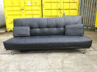 Black Leather Sofa Bed Couch - DELIVERY AVAILABLE