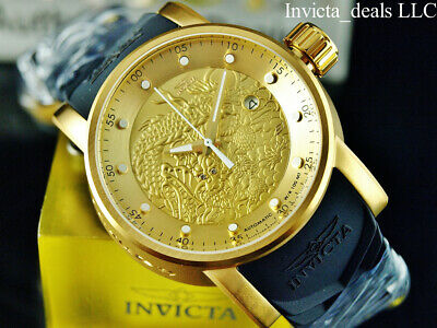 Invicta Men's S1 YAKUZA DRAGON AUTOMATIC NH35A 18K Gold IP SS Black Strap Watch