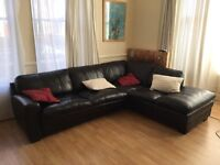 Large leather sofa / sofabed