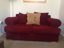 Sofa suite, 3xSeat/2xSeat/Puffee, Red