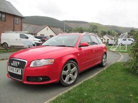 Audi A4 Avant Diesel 170 BHP in red FSH, Recent MOT, Leather Seats