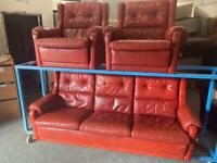 RED LEATHER RETRO SOFA SET 3-1-1 SEATER
