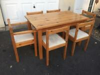 Solid pine dining table and chairs