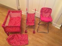 Dolls buggy, travel cot and highchair