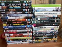 32 Dvds, 1 blu-ray, 3 pc games and 1 xbox 360 game