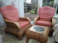 2 wicker conservatory chair and wicker glass topped table