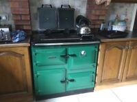 Green enamel Rayburn stove model 480, price £100