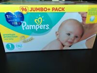 4x96 Pampers Premium Protection size 1 - brand new, unopened boxes