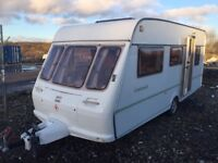 Fleetwood countryside17ft 5 berth 2002 end double bed with closing doors for privacy 3 way fridge