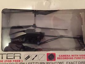 Remote control helicopter with built in camera.
