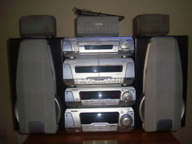 Technics SL-DV280 Surround sound system. 7 speakers Very Good Condition 2 Tape decks 5 CD/DVD player