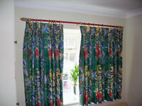 CURTAINS Matching lounge full height double window x2 sets pelmet + tie back, plus Bedroom curtains