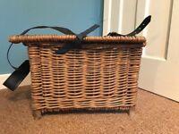 Vintage wicker fishing tackle storage basket