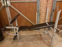 Weight Bench with weights, dumbells and cast bar