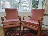vintage mid century armchairs dusky pink velour and wood