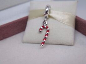 Genuine Pandora Christmas Candy Cane Enamel Pendant Charm 791193en09
