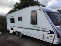 sterling elite 4 berth fix bed shower fullsize fridefreezer cooker good caravan €3800 ono