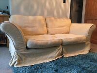 Lovely cream furniture suite with spare covers for sale