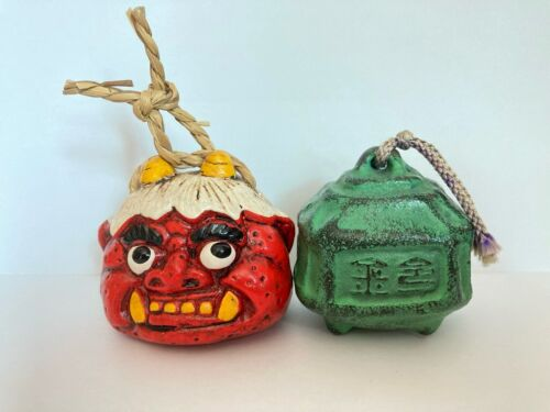 Japanese Vintage Cray Doll & Steel Bell Tradition Lucky Signed 2 pieces H.5 cm