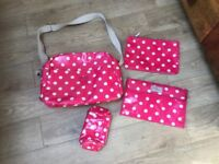 Cath Kidston pink spotted changing bag and mat bottle warmer etc