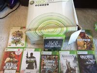 White Xbox 360 60gb with 9 games