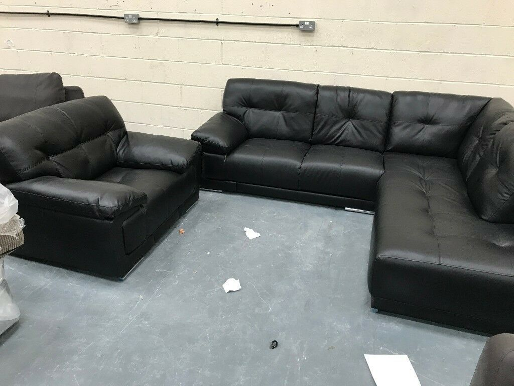Nearly New Black Leather Corner Sofa + Armchair Dirt Cheap ...