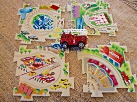 Fire engine with run around track road puzzle set perfect for holiday travel