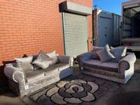 SOLD- Absolutely gorgeous crushed velvet sofas 3&2 delivery 🚚 sofa suite couch furniture