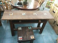 Delightful decorated side table and coffee or stool