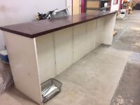 LONG WORKTOP/COUNTER FOR SHOP DISPLAY WITH SHELVES VINTAGE SHABBY CHIQUE RETAIL