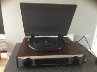 Record player plus vinyl LPs